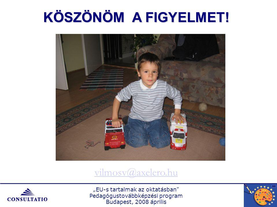 """""""EU-s tartalmak az oktatásban Pedagógustovábbképzési program Budapest, 2008 április KÖSZÖNÖM A FIGYELMET."""