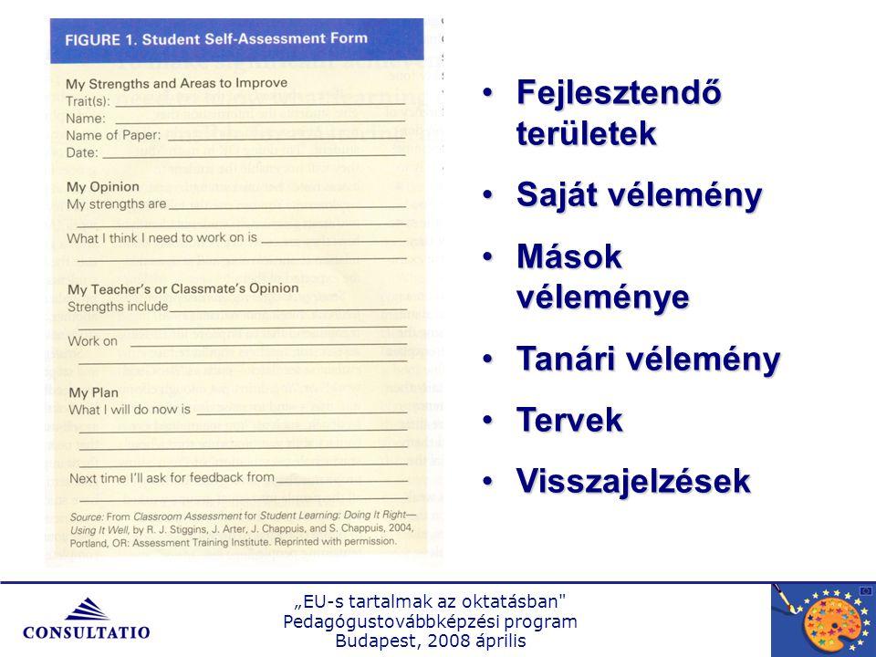 """""""EU-s tartalmak az oktatásban Pedagógustovábbképzési program Budapest, 2008 április Fejlesztendő területekFejlesztendő területek Saját véleménySaját vélemény Mások véleményeMások véleménye Tanári véleményTanári vélemény TervekTervek VisszajelzésekVisszajelzések"""