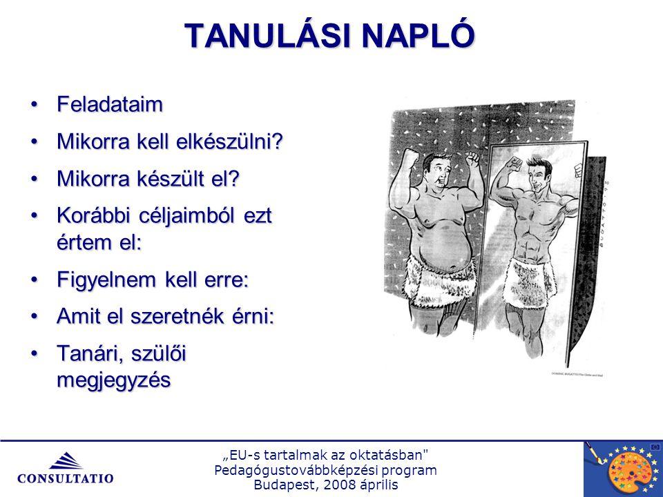 """""""EU-s tartalmak az oktatásban Pedagógustovábbképzési program Budapest, 2008 április TANULÁSI NAPLÓ FeladataimFeladataim Mikorra kell elkészülni Mikorra kell elkészülni."""
