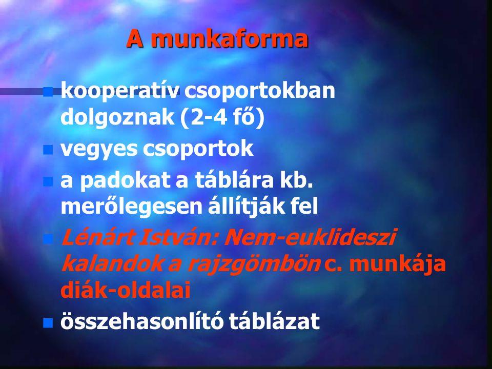 A munkaforma n n kooperatív csoportokban dolgoznak (2-4 fő) n n vegyes csoportok n n a padokat a táblára kb.