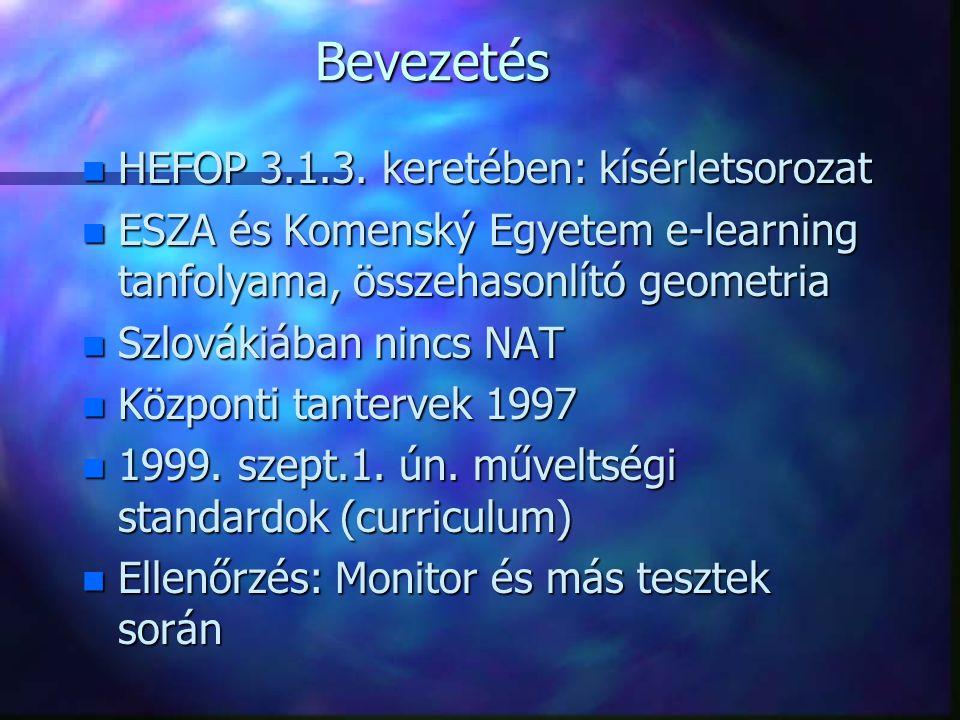 Bevezetés n HEFOP 3.1.3.