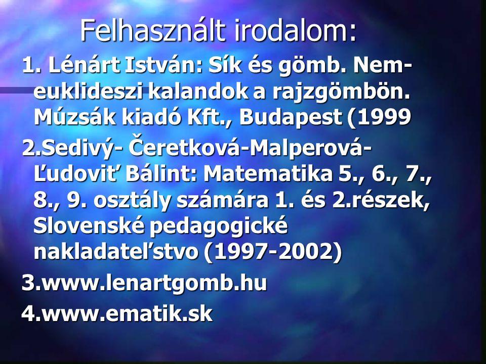 Felhasznált irodalom: 1.Lénárt István: Sík és gömb.