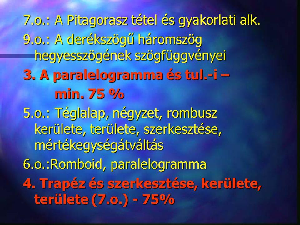 7.o.: A Pitagorasz tétel és gyakorlati alk.