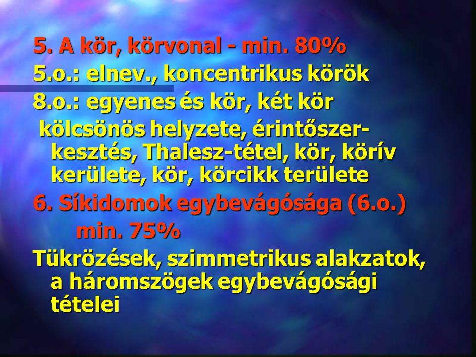 7.Síkidomok hasonlósága (9.o.) min. 60% 7. Síkidomok hasonlósága (9.o.) min.
