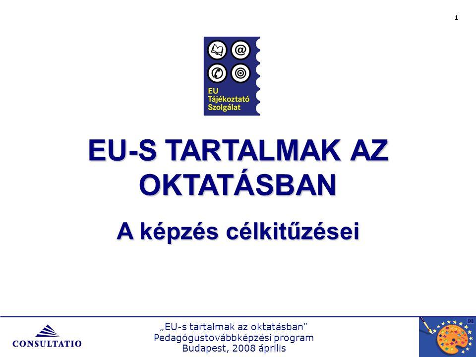 """""""EU-s tartalmak az oktatásban Pedagógustovábbképzési program Budapest, 2008 április 2 CÉLJAINK  A pedagógusok Unióval kapcsolatos attitűdjének feldolgozása  A tanulók érdeklődési területeinek összegyűjtése  Uniós témák tantárgyi és tantárgyközi feldolgozása  A témák kompetencia alapú megközelítése, egy fejlesztési terv készítése  Uniós témákhoz kapcsolódó segédanyagok módszertani alkalmazási területeinek tudatosítása  IKT (pl."""