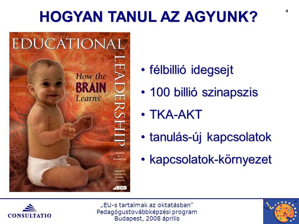"""""""EU-s tartalmak az oktatásban Pedagógustovábbképzési program Budapest, 2008 április 5 ÖSSZEGZÉS  Nem az új tanításával kezdünk  Bemelegítés, ráhangolódás  Egyeztetett célok, elvárások  Előzetes tudás  Közös munka  Együttgondolkodás, motiváció"""