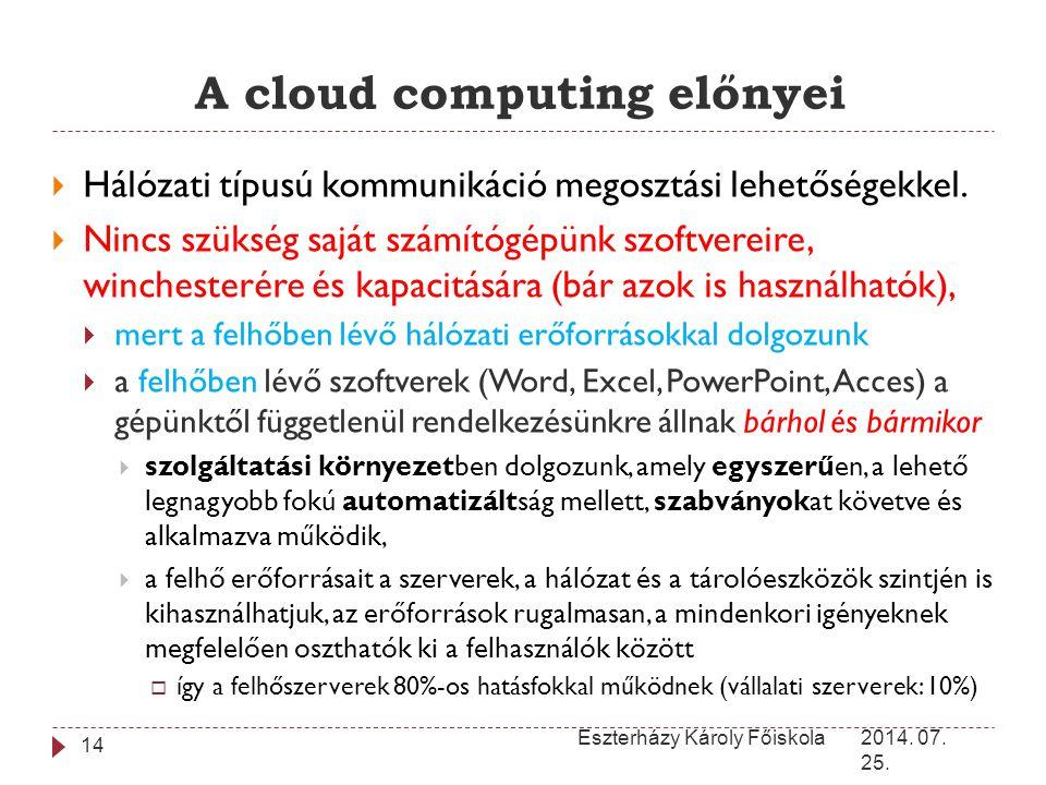 A cloud computing előnyei 2014. 07. 25. Eszterházy Károly Főiskola 14  Hálózati típusú kommunikáció megosztási lehetőségekkel.  Nincs szükség saját