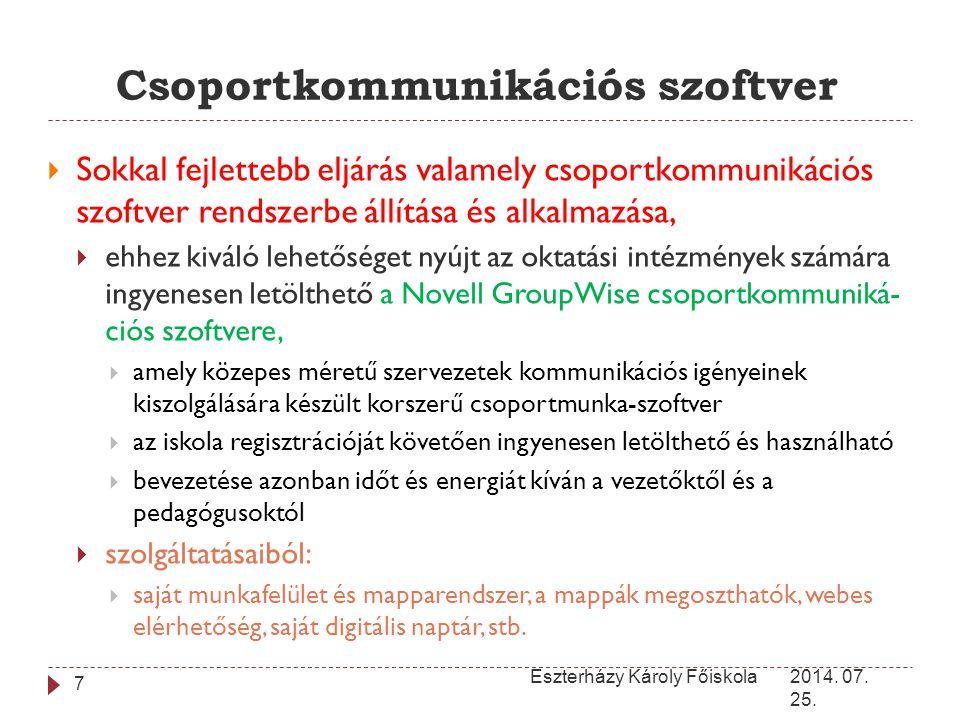 Csoportkommunikációs szoftver 2014. 07. 25. Eszterházy Károly Főiskola 7  Sokkal fejlettebb eljárás valamely csoportkommunikációs szoftver rendszerbe