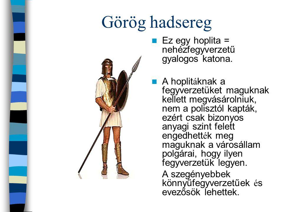 Görög hadsereg Ez egy hoplita = nehézfegyverzetű gyalogos katona. A hoplit á knak a fegyverzetüket maguknak kellett megvásárolniuk, nem a polisztól ka
