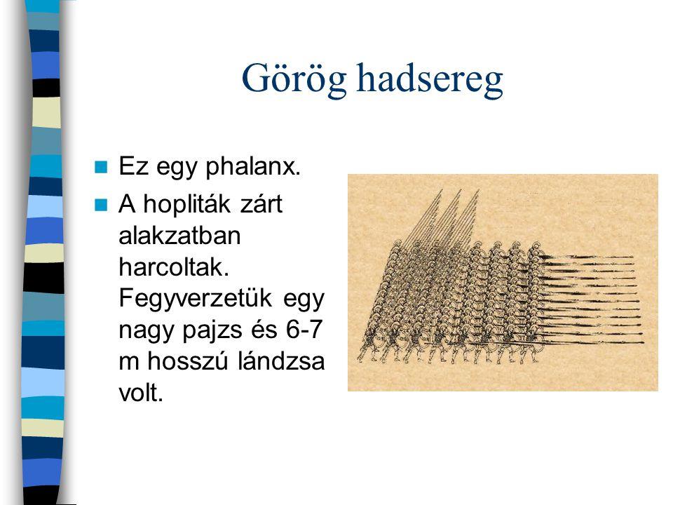 Görög hadsereg Ez egy phalanx. A hopliták zárt alakzatban harcoltak. Fegyverzetük egy nagy pajzs és 6-7 m hosszú lándzsa volt.
