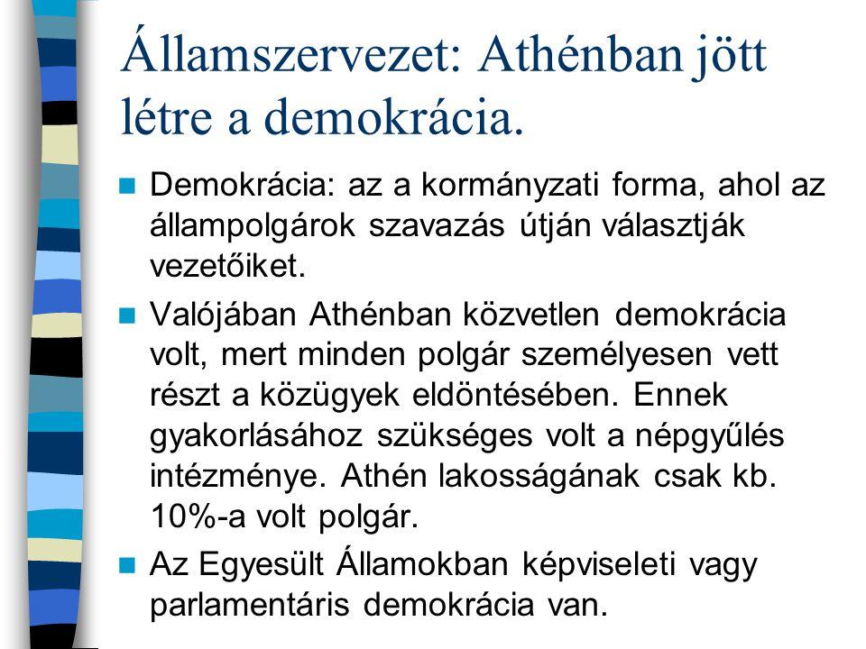 Államszervezet: Athénban jött létre a demokrácia. Demokrácia: az a kormányzati forma, ahol az állampolgárok szavazás útján választják vezetőiket. Való