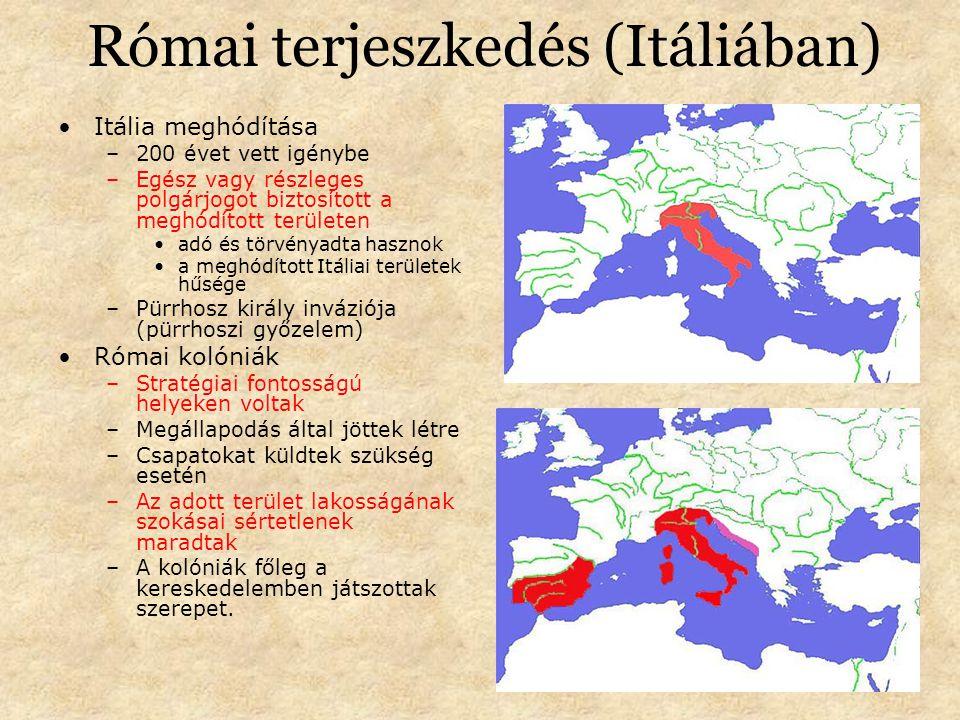 Római terjeszkedés (Itáliában) Itália meghódítása –200 évet vett igénybe –Egész vagy részleges polgárjogot biztosított a meghódított területen adó és törvényadta hasznok a meghódított Itáliai területek hűsége –Pürrhosz király inváziója (pürrhoszi győzelem) Római kolóniák –Stratégiai fontosságú helyeken voltak –Megállapodás által jöttek létre –Csapatokat küldtek szükség esetén –Az adott terület lakosságának szokásai sértetlenek maradtak –A kolóniák főleg a kereskedelemben játszottak szerepet.