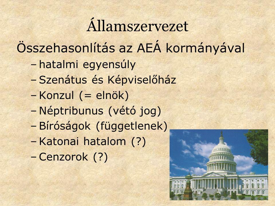 Államszervezet Összehasonlítás az AEÁ kormányával –hatalmi egyensúly –Szenátus és Képviselőház –Konzul (= elnök) –Néptribunus (vétó jog) –Bíróságok (függetlenek) –Katonai hatalom (?) –Cenzorok (?)