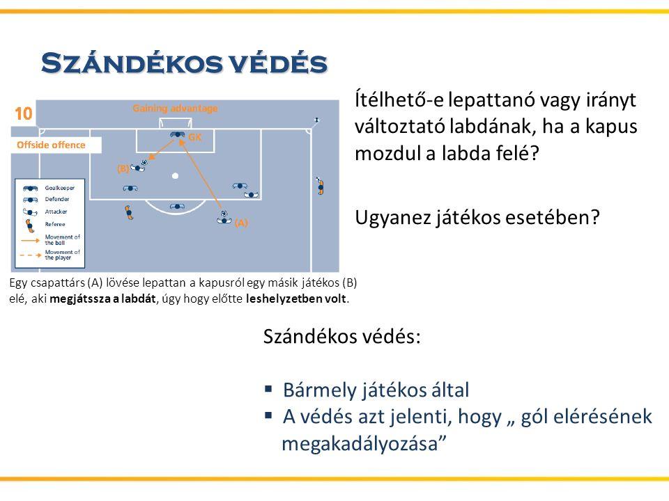 Szándékos védés Ítélhető-e lepattanó vagy irányt változtató labdának, ha a kapus mozdul a labda felé.