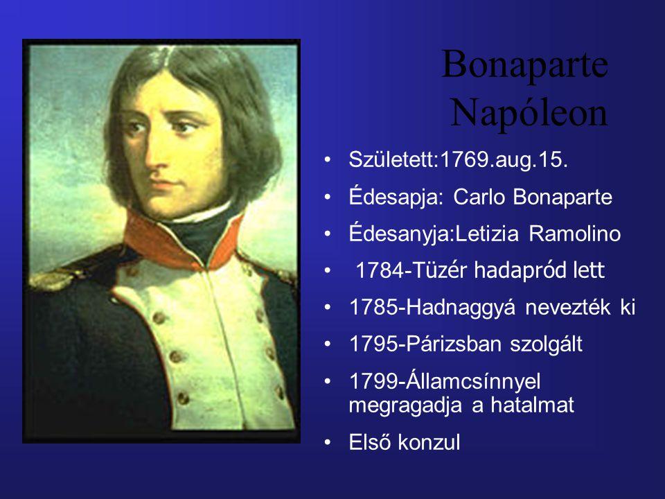 Született:1769.aug.15. Édesapja: Carlo Bonaparte Édesanyja:Letizia Ramolino 1784-T üzér hadapród lett 1785-Hadnaggyá nevezték ki 1795-Párizsban szolgá