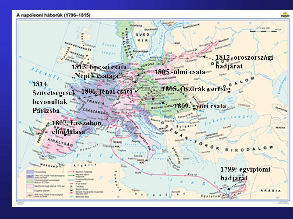 1799.-egyiptomi hadjárat 1805.-ulmi csata 1805. Osztrák vereség 1806. jénai csata 1807. Lisszabon elfoglalása 1809. győri csata 1812. oroszországi had