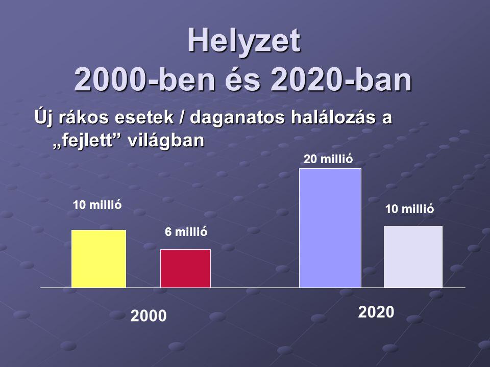 """Helyzet 2000-ben és 2020-ban Új rákos esetek / daganatos halálozás a """"fejlett"""" világban 10 millió 6 millió 20 millió 10 millió 2000 2020"""