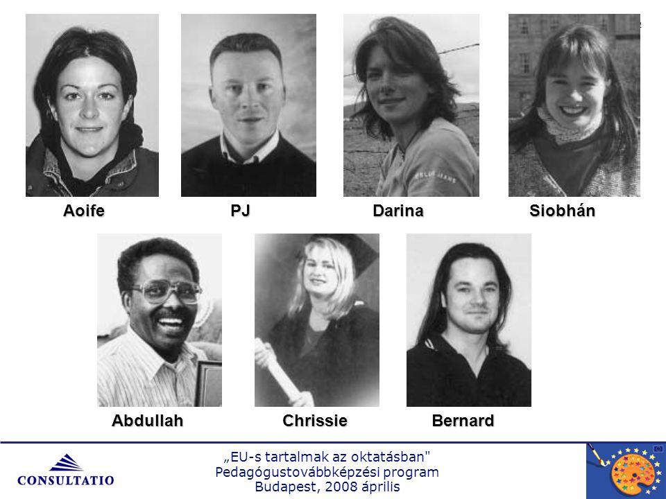 """""""EU-s tartalmak az oktatásban Pedagógustovábbképzési program Budapest, 2008 április 3 …óvodapedagógus_________…óvodapedagógus_________ …villanyszerelő_________…villanyszerelő_________...pénzügyi tanácsadó_________...pénzügyi tanácsadó_________ …közösségi munkás_________…közösségi munkás_________ …tanár _________…tanár _________ …irodai adminisztrátor _______…irodai adminisztrátor _______ …s zobafestő _______…s zobafestő _______ Kérjük, döntse el, hogy az előző dián látható 7 személy közül ki …"""