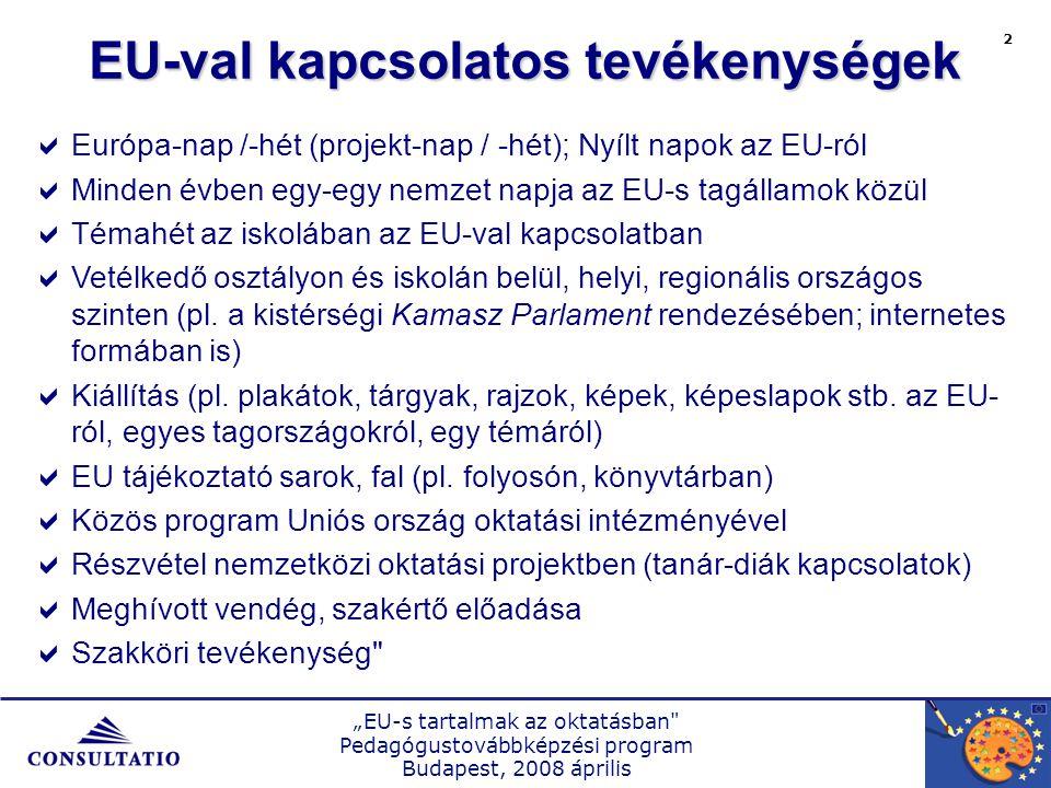 """""""EU-s tartalmak az oktatásban Pedagógustovábbképzési program Budapest, 2008 április 2 EU-val kapcsolatos tevékenységek  Európa-nap /-hét (projekt-nap / -hét); Nyílt napok az EU-ról  Minden évben egy-egy nemzet napja az EU-s tagállamok közül  Témahét az iskolában az EU-val kapcsolatban  Vetélkedő osztályon és iskolán belül, helyi, regionális országos szinten (pl."""