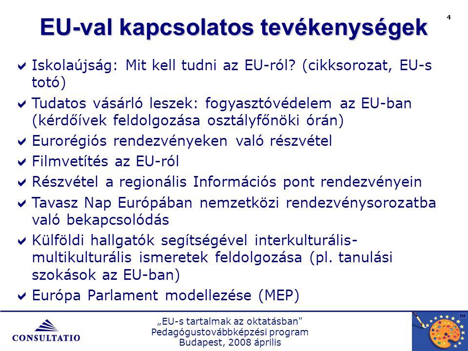 """""""EU-s tartalmak az oktatásban Pedagógustovábbképzési program Budapest, 2008 április 4 EU-val kapcsolatos tevékenységek  Iskolaújság: Mit kell tudni az EU-ról."""