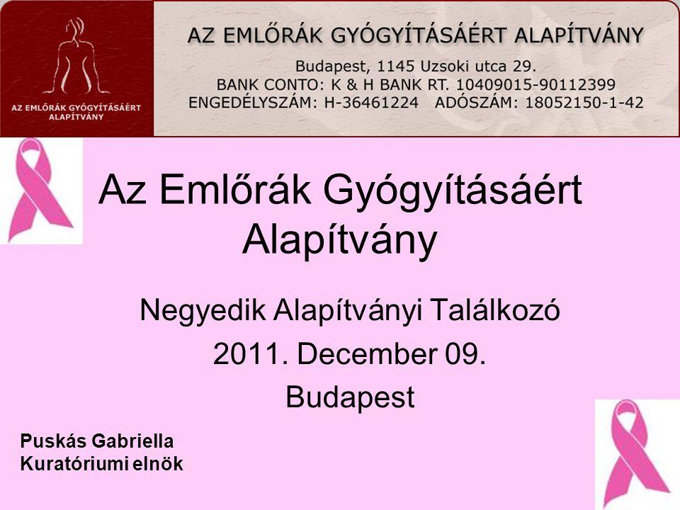 Az Emlőrák Gyógyításáért Alapítvány Negyedik Alapítványi Találkozó 2011. December 09. Budapest Puskás Gabriella Kuratóriumi elnök