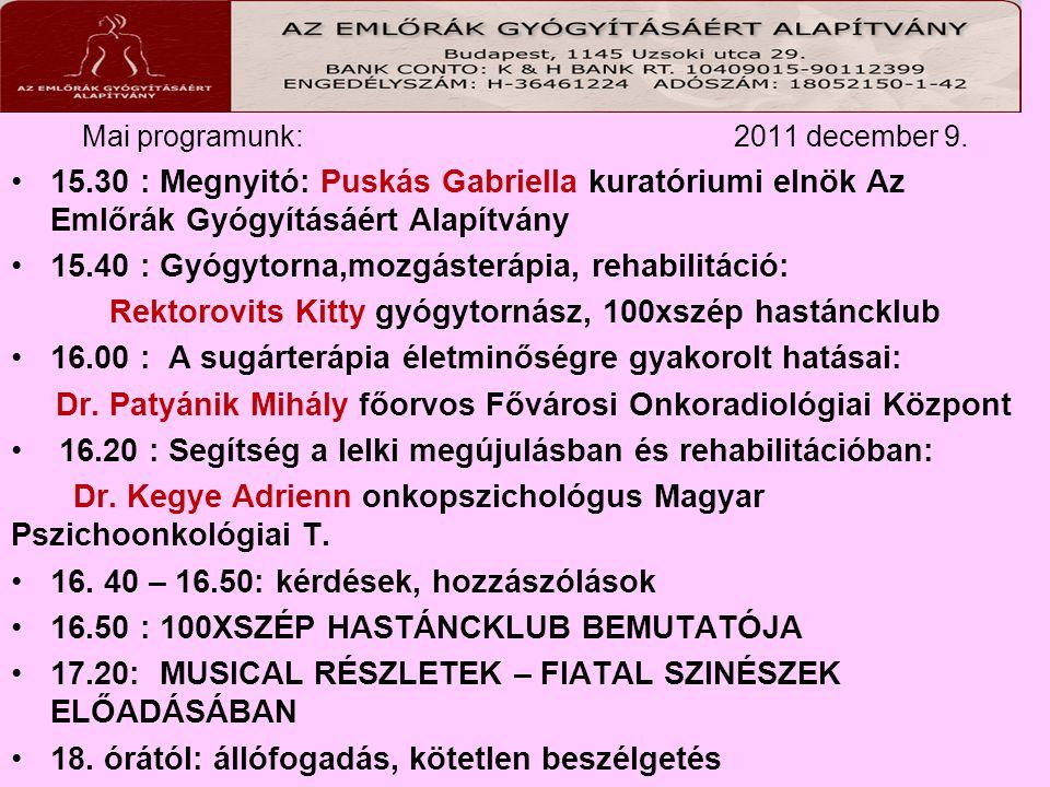 Mai programunk: 2011 december 9. 15.30 : Megnyitó: Puskás Gabriella kuratóriumi elnök Az Emlőrák Gyógyításáért Alapítvány 15.40 : Gyógytorna,mozgáster