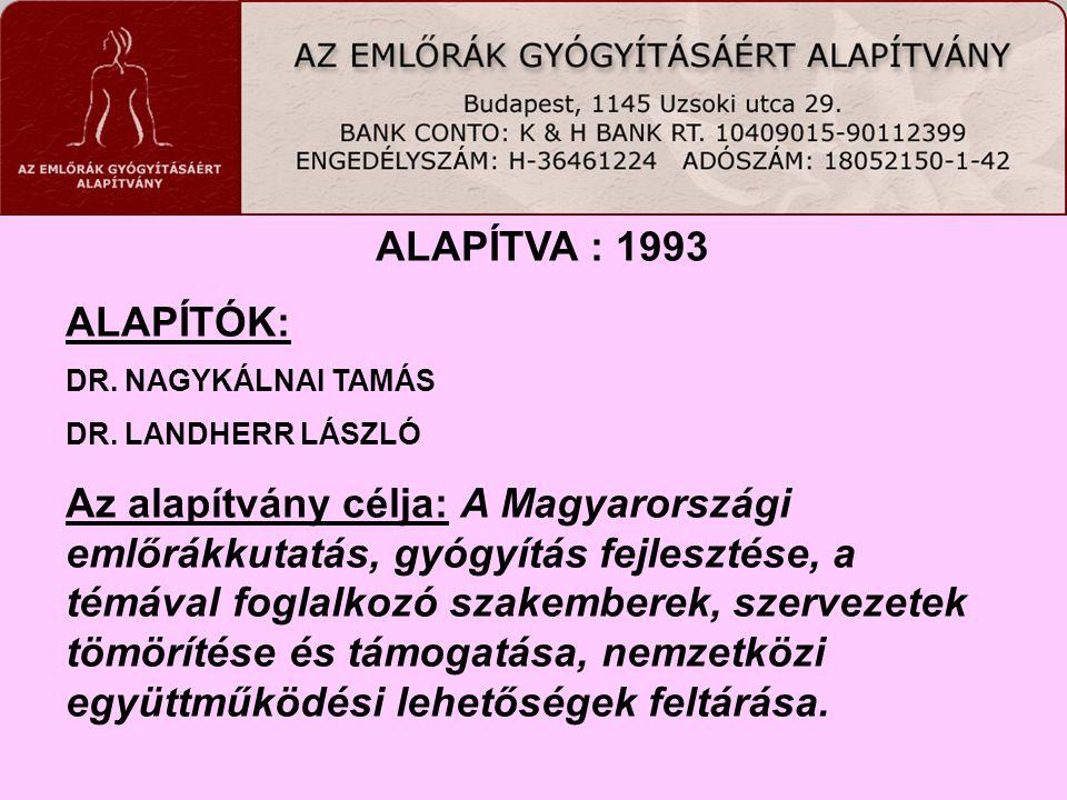 ALAPÍTVA : 1993 ALAPÍTÓK: DR. NAGYKÁLNAI TAMÁS DR. LANDHERR LÁSZLÓ Az alapítvány célja: A Magyarországi emlőrákkutatás, gyógyítás fejlesztése, a témáv