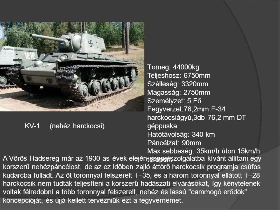 Orosz Harckocsik T-26 (Könnyűharckocsi) Tömeg: 9400kg Teljeshosz: 4880mm Magasság: 2410mm Személyzet: 3 Fő Fegyverzet:45mm harckocsiágyú,1 vagy 2db 76