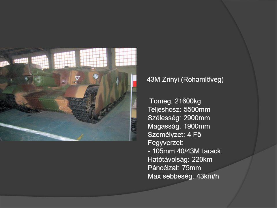 Magyar Harckocsik 38M Toldi (Könnyű Harckocsi) Tömeg: 8500kg Teljeshosz: 4750mm Szélesség: 2140mm Magasság: 1870mm Személyzet: 3 Fő Fegyverzet: - 20mm