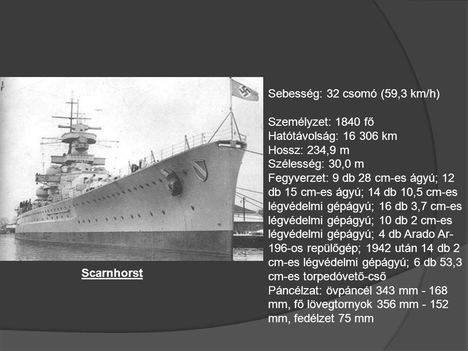 Német Hadihajók Bismarck Sebesség: 29 csomó (53,7 km/h) Személyzet: 2092 fő Hatótávolság: 15 000 km Hossz: 251,0 m Szélesség: 36,0 m Fegyverzet: -8db