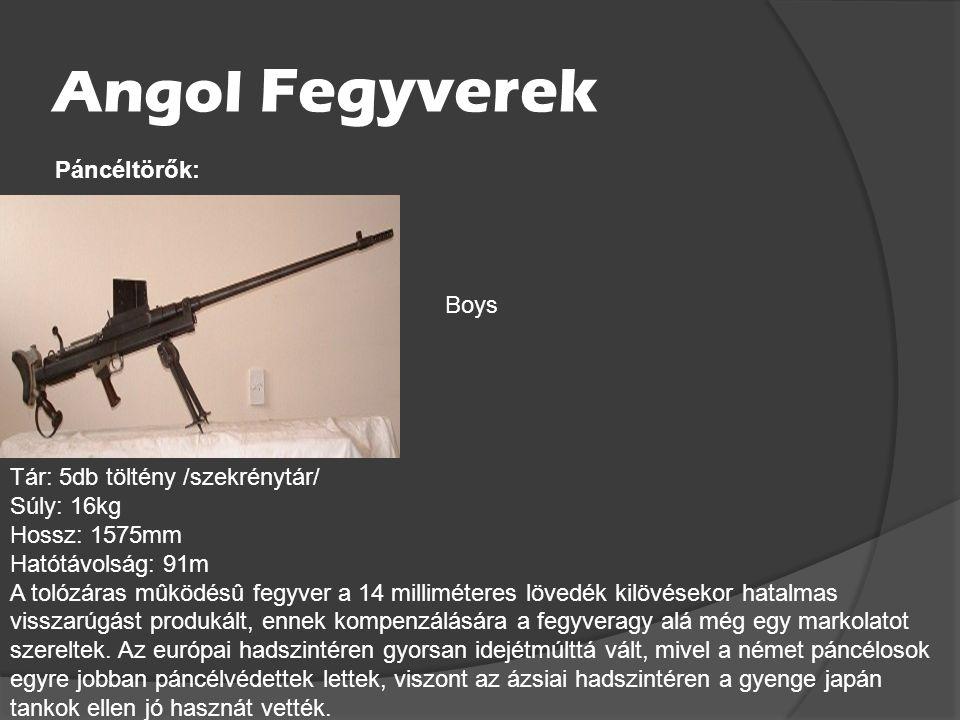 Román Fegyverek Tár: 32db töltény /szekrénytár/ Súly: 3.45kg Hossz: 894mm Hatótávolság: 200m Orita M1941