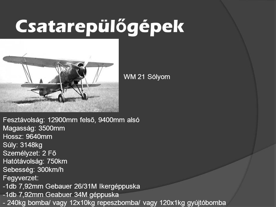 Magyar Repül ő gépek Vadász Repülőgépek Fesztávolság: 11000mm Magasság: 3200mm Hossz: 7900mm Súly: 2880kg Személyzet: 1 Fő Hatótávolság: 680km Sebessé