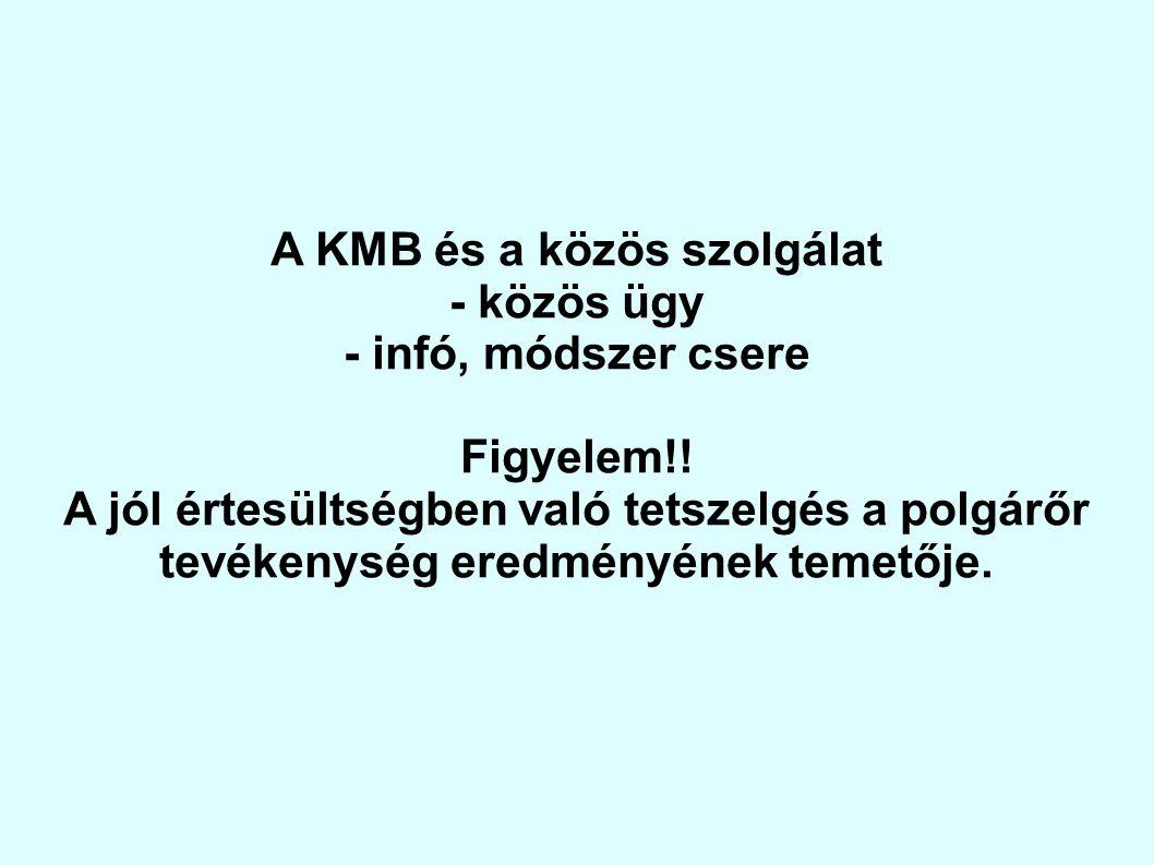 A KMB és a közös szolgálat - közös ügy - infó, módszer csere Figyelem!! A jól értesültségben való tetszelgés a polgárőr tevékenység eredményének temet