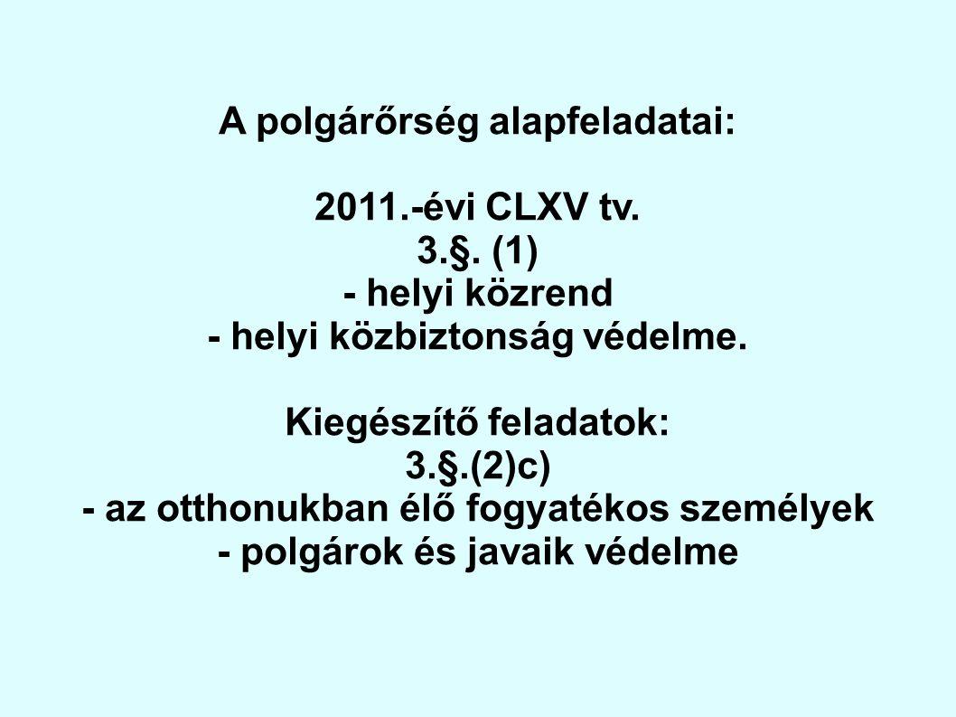 A polgárőrség alapfeladatai: 2011.-évi CLXV tv. 3.§. (1) - helyi közrend - helyi közbiztonság védelme. Kiegészítő feladatok: 3.§.(2)c) - az otthonukba