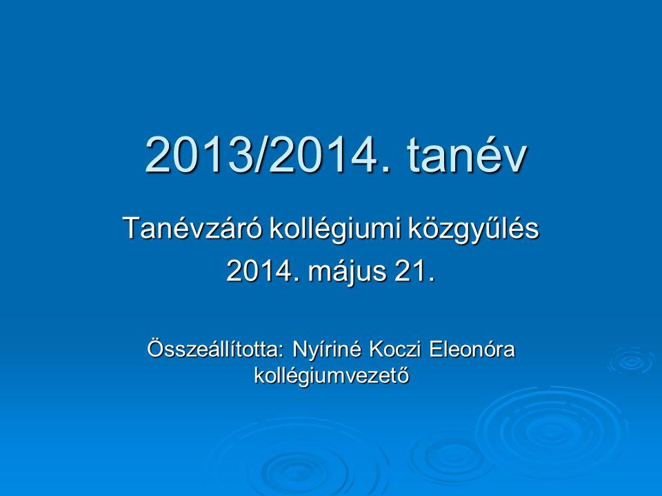 2013/2014. tanév Tanévzáró kollégiumi közgyűlés 2014. május 21. Összeállította: Nyíriné Koczi Eleonóra kollégiumvezető