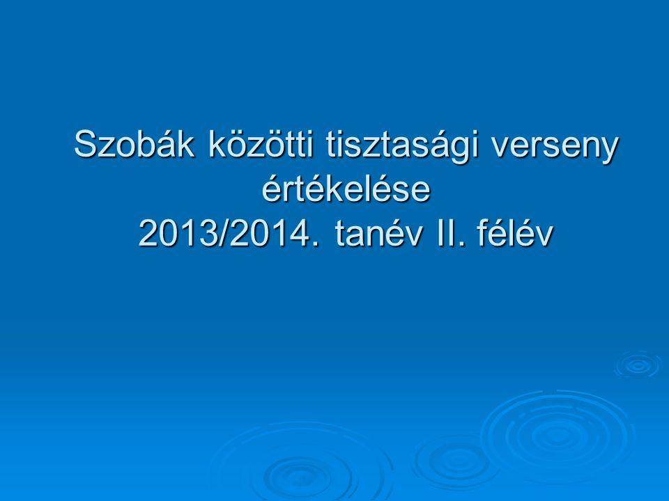 Szobák közötti tisztasági verseny értékelése 2013/2014. tanév II. félév