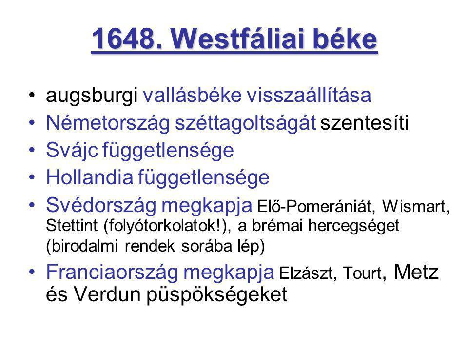 1648. Westfáliai béke augsburgi vallásbéke visszaállítása Németország széttagoltságát szentesíti Svájc függetlensége Hollandia függetlensége Svédorszá