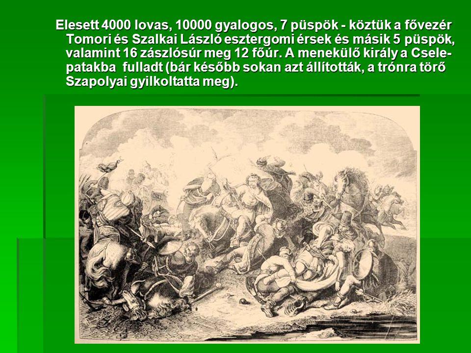Elesett 4000 lovas, 10000 gyalogos, 7 püspök - köztük a fővezér Tomori és Szalkai László esztergomi érsek és másik 5 püspök, valamint 16 zászlósúr meg 12 főúr.