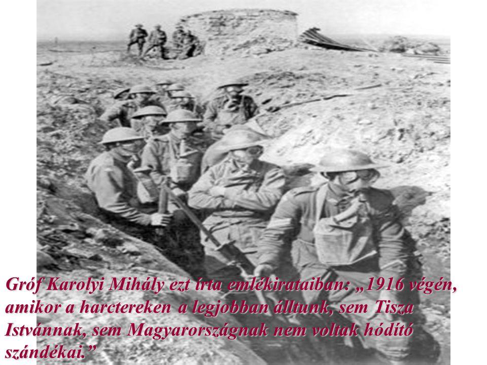 """Gróf Karolyi Mihály ezt írta emlékirataiban: """"1916 végén, amikor a harctereken a legjobban álltunk, sem Tisza Istvánnak, sem Magyarországnak nem volta"""