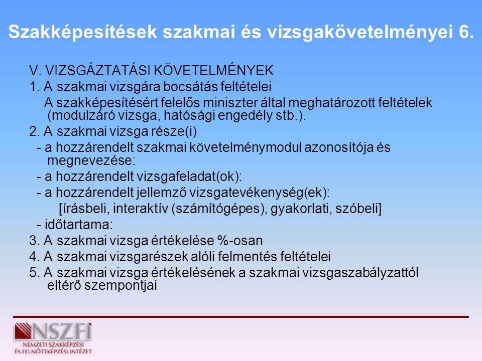 Szakképesítések szakmai és vizsgakövetelményei 6. V. VIZSGÁZTATÁSI KÖVETELMÉNYEK 1. A szakmai vizsgára bocsátás feltételei A szakképesítésért felelős