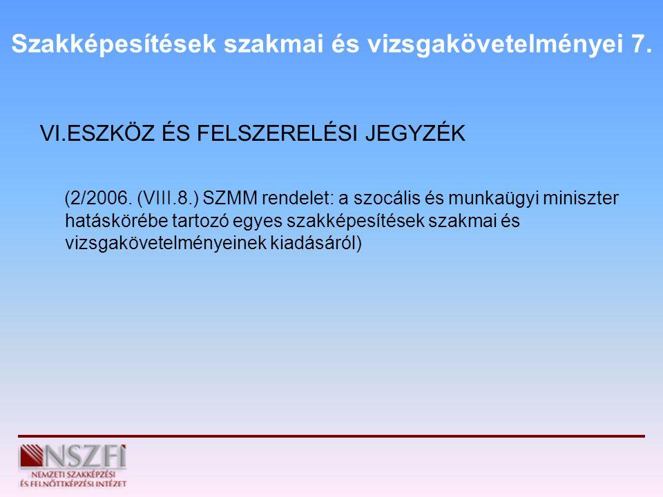 Szakképesítések szakmai és vizsgakövetelményei 7. VI.ESZKÖZ ÉS FELSZERELÉSI JEGYZÉK (2/2006. (VIII.8.) SZMM rendelet: a szocális és munkaügyi miniszte