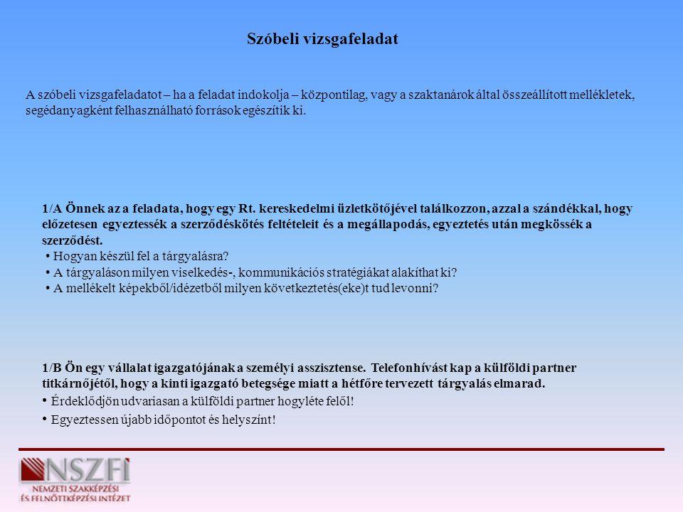 1/A Önnek az a feladata, hogy egy Rt. kereskedelmi üzletkötőjével találkozzon, azzal a szándékkal, hogy előzetesen egyeztessék a szerződéskötés feltét