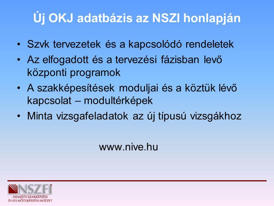 Új OKJ adatbázis az NSZI honlapján Szvk tervezetek és a kapcsolódó rendeletek Az elfogadott és a tervezési fázisban levő központi programok A szakképe