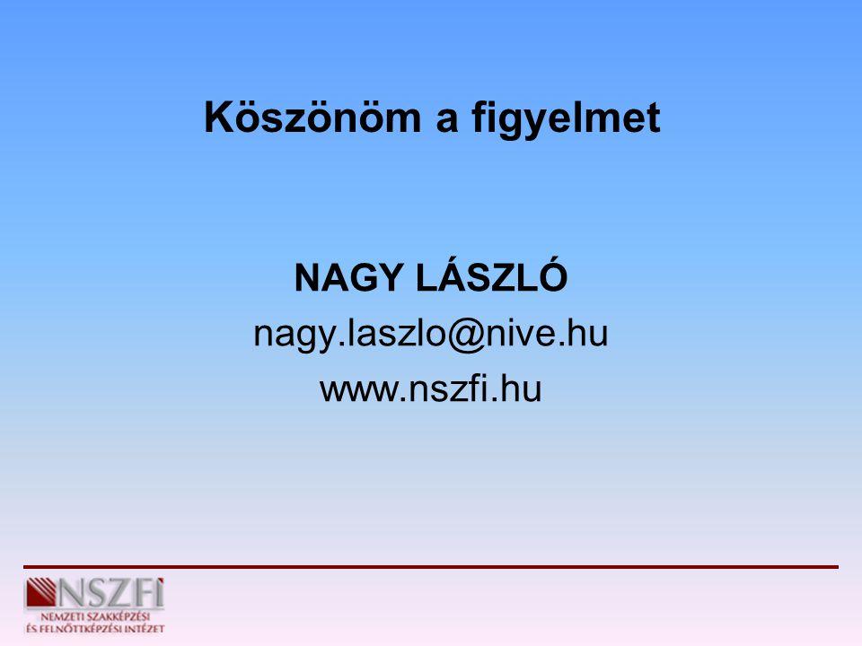 Köszönöm a figyelmet NAGY LÁSZLÓ nagy.laszlo@nive.hu www.nszfi.hu