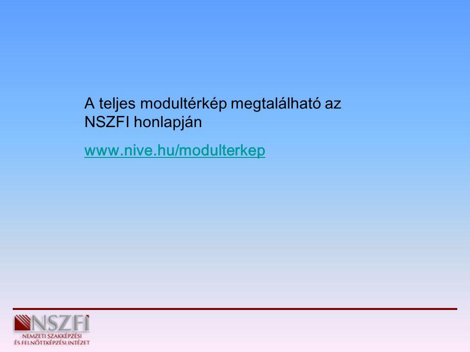 A teljes modultérkép megtalálható az NSZFI honlapján www.nive.hu/modulterkep