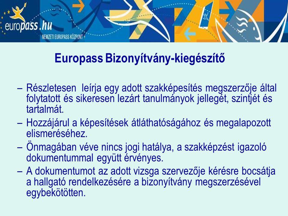 Europass Bizonyítvány-kiegészítő –Részletesen leírja egy adott szakképesítés megszerzője által folytatott és sikeresen lezárt tanulmányok jellegét, sz