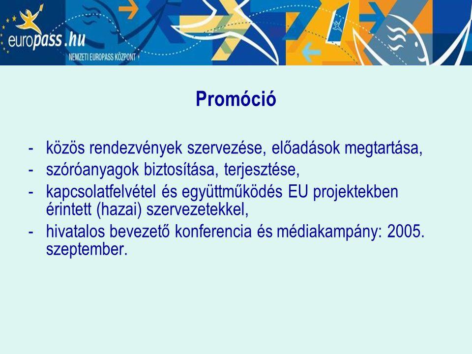 Promóció -közös rendezvények szervezése, előadások megtartása, - szóróanyagok biztosítása, terjesztése, -kapcsolatfelvétel és együttműködés EU projekt