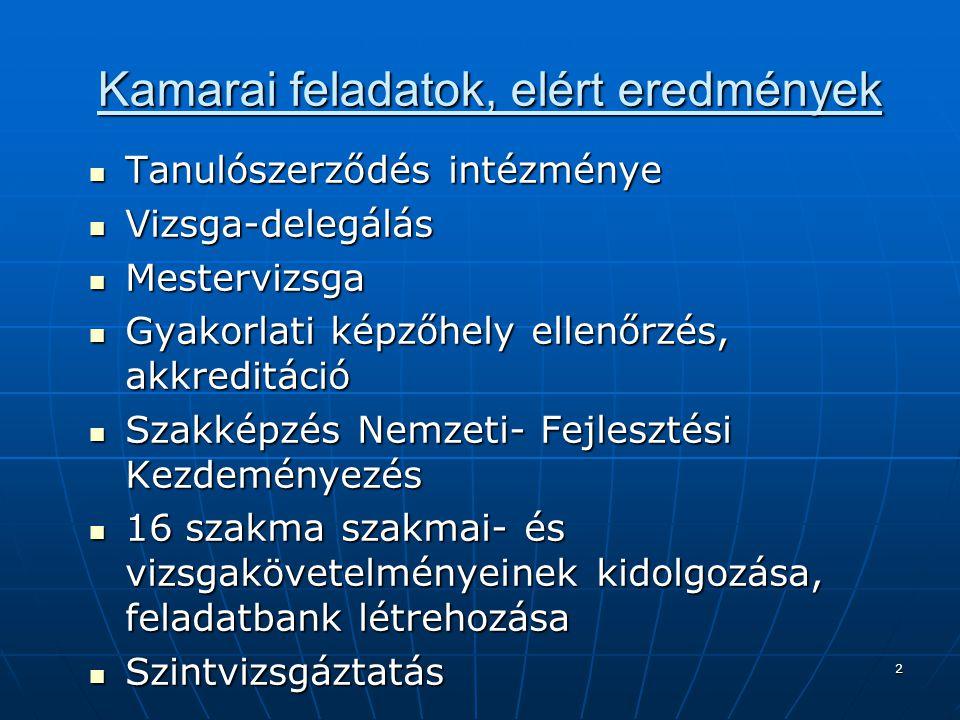 2 Kamarai feladatok, elért eredmények Tanulószerződés intézménye Tanulószerződés intézménye Vizsga-delegálás Vizsga-delegálás Mestervizsga Mestervizsg