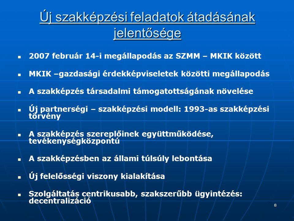 8 Új szakképzési feladatok átadásának jelentősége 2007 február 14-i megállapodás az SZMM – MKIK között MKIK –gazdasági érdekképviseletek közötti megál