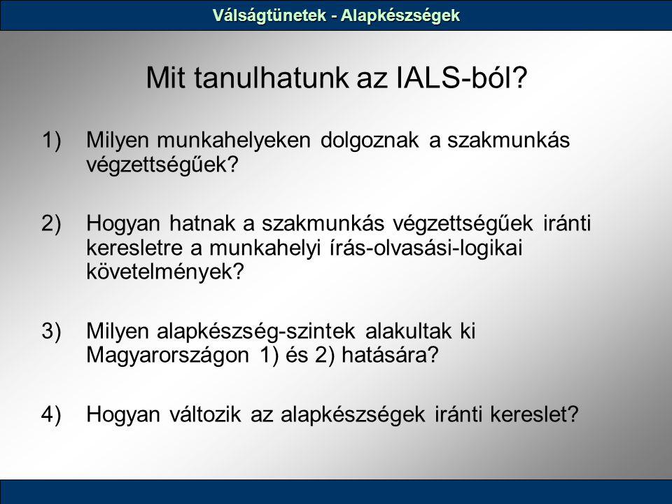 Mit tanulhatunk az IALS-ból.1)Milyen munkahelyeken dolgoznak a szakmunkás végzettségűek.